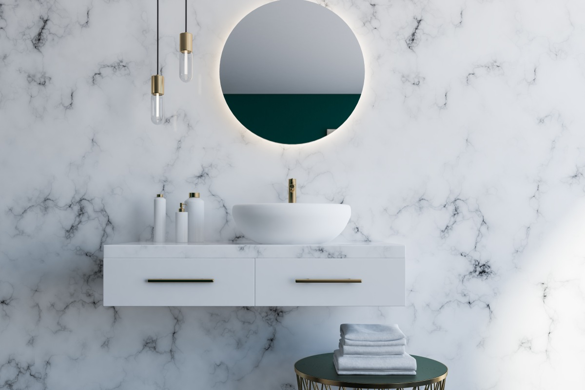 The Lightness of Marble: Carpets, Hanging Lamps and Shelves